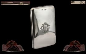 Victorian Period - Attractive Sterling Silver Hinged Card Case Complete with Silver Pencil,