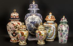 Collection of Lidded Ginger Jars, six in total,