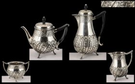 Edwardian Period 1901 - 1910 Superb Quality Sterling Silver Bachelors 4 Piece Tea-Service of