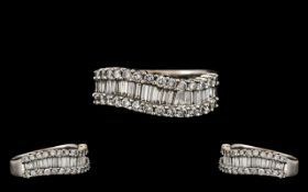 18ct White Gold - Attractive Contemporary Designed Baguette and Brilliant Cut Diamond Set Dress