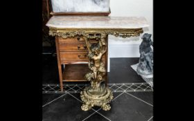 Gilded Carved Wood Consul Table of small size with a marble effect top,