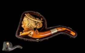 Antique Period - Carved Meerschaum Pipe.