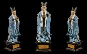 Chinese Glazed Pottery Figure of a Deity holding a symbol, wearing blue robes; standing on a