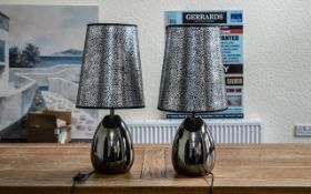 Pair of Modern Table Lamps with shades. Pewter colour bases with silver patterned shades, measure