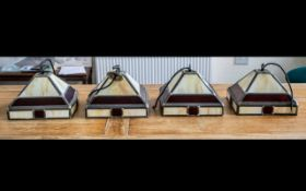 Four Small Matching Light Shades in Art Deco style, leaded with cream and ruby glass, ,