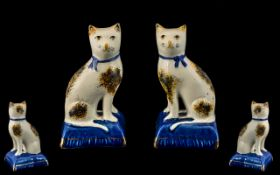 Staffordshire - 19th Century Fine True Pair of Pearl White Hand Painted Cat Figures. c.1850.
