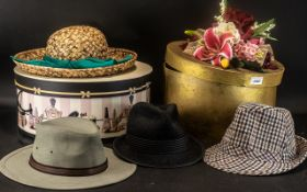 2 Hat Boxes with Ladies Straw Hat,