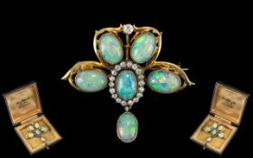 A Superb Quality Antique Period 18ct Gold Opal and Diamond Set Pendant - Drop Brooch of Lovely
