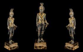 Gilt Bronze Figure of a Dragoon in Full Military Attiire,