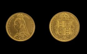 Queen Victoria Jubilee Head and Shield Back 22ct Gold Half Sovereign. Date 1887, London Mint.
