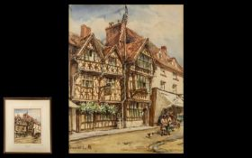 Conrad Hector Rafaele Carelli 1869-1956 Watercolour 'Harvard House, Stratford'. Signed lower left by