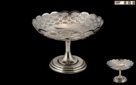 Edwardian Period Open Worked Sterling Silver Pedestal Dish of Small Proportions.
