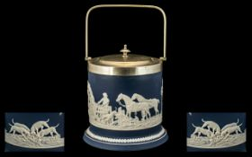 An Adams Tunstall After Wedgwood Biscuit Barrel depictinf a hunting scene with figures,