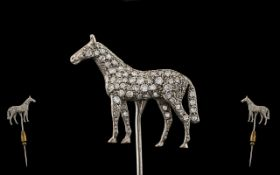 Art Deco Period - 18ct White Gold Superb Diamond Set Figural Tie Pin or Hat Pin,