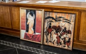 Large Print of Nude Lady with her back to the artist, in gilt frame, measures 35'' x 21''