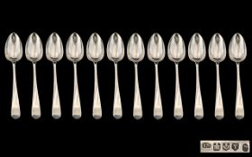 Scottish Silver - Edinburgh George III Rare Set of 12 Large Sterling Silver Soup Spoons.