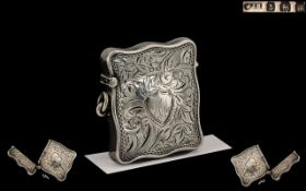 Edwardian Period Silver Vesta Case of Unusual Shape and Excellent Design with Engraved Decoration