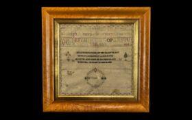 George III Needlework Sampler Alphabet & Verse, Dated 1804.