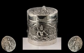 Anglo Indian Nice Quality Silver Repousse Worked Small Lidded Circular Jar,