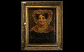 Small Victorian Oil Painting on Canvas, depicting a lady in period dress and lace bonnet,