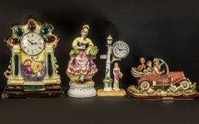 Collection of Decorative Ceramic Items comprising a Michelangelo vintage car on a wooden base,