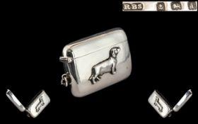 Edwardian Period 1902 - 1910 Finest Quality Silver - Novelty Hinged Vesta Case,