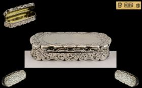 Victorian Period Mid Silver Hinged Snuff Box and Oblong Shape and Chased Leaf Decoration to Cover,