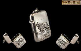 Late Victorian Period Wonderful Sterling Silver Vesta Case. Hallmark Birmingham 1897, Makers Mark T.