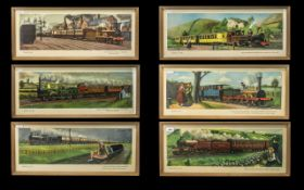 Railway Interest - Collection of Six C Hamilton Ellis 1950s Carriage Prints mounted and framed