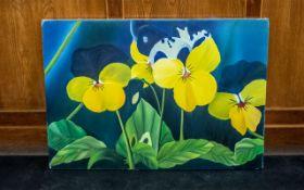 Large Oil on Canvas of Pansies by Iranian Artist Shahrebanoo Gezelbash.
