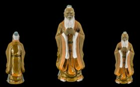 Chinese Export Mid 20th Century Shiwan Mudman Figure of large proportions. 'Sage - Wiseman' with