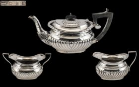 Charles Horner Superb 3 Piece Bachelors Sterling Silver Tea Service with Half Ribbed Design to