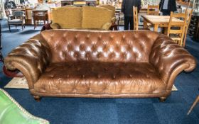 Large Tan Brown Three Seater Buttoned Chesterfield Sofa with splayed out shaped rolling arms,