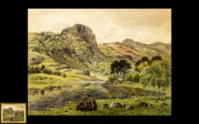 Thirlmere Large Watercolour Drawing by Ward Heyes. Dated 1879 and Titled to the Verso, Finely
