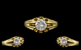 18ct Gold - Gents Excellent Quality Single Stone Diamond Ring - Gypsy Setting. Hallmark Birmingham