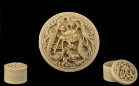 Chinese 19th Century - Good Quality Carved Ivory Circular Lidded Box,