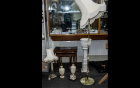 Collection of Lamps, comprising a tall green onyx standard lamp on a circular base, with a fringed
