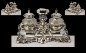 A Fine Quality 19th Century Attractive Silver Desk Ink Well and Stand,