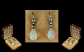 Antique Period 18ct Gold - Top Quality Pair of Diamond and Tear Drop Opal Set Drop Earrings.
