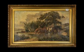 Oil Painting on Canvas Depicting a River Landscape, with horses and figures pulling logs.
