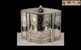 George III Superb Quality - Sterling Silver Serpentine Shaped Tea-Caddy of Wonderful Design and