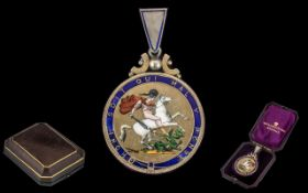 Good Quality George lll Silver and Enamel 1820 Crown Pendant,