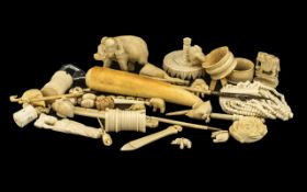 Large Collection of Antique Oriental Ivory Miscellaneous Items comprising odd chess pieces, three