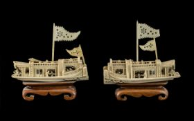 Pair of Antique Cantonese Carved Ivory Imperial Boats with figures on board, on wooden bases.