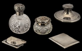 A Small Mixed Lot of Silver Trade Items to include two cigarette cases, a scent bottle with stopper,