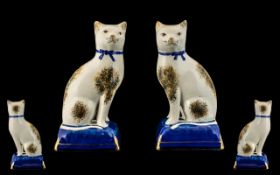 Staffordshire - 19th Century Fine Pair of Hand Painted Pearl-Ware Cat Figures. c.1850.