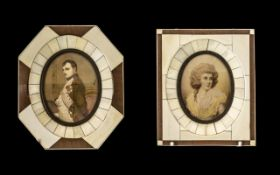 Pair of Portrait Painted Miniatures in Bonite Frames of Napoleon and Josephine,