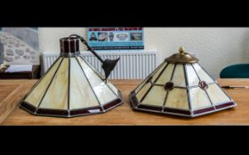Large Glass Leaded Lampshade & Matching Uplighter in cream and ruby glass, in the Art Deco style,