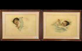 Pair of Bessie Pease Gutman Limited Edition Litho Coloured Prints of sleeping babies,