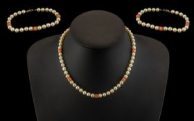 Mikimoto - Superb Single Strand Cultured Pearl Necklace and Matching Bracelet,
